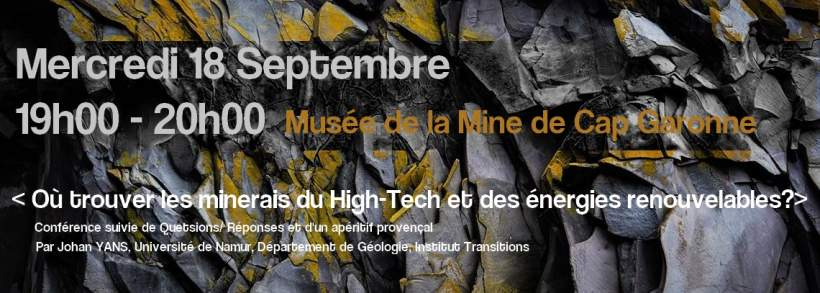 "CONFERENCE Mercredi 18 septembre 19h00 "" Ou trouver les minerais du high tech """